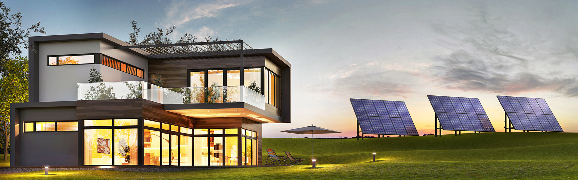 Evening view of a luxurious modern house with solar panels